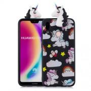 3D Animal Pattern Printing Soft TPU Shell Case for Huawei P20 Lite / Nova 3e - Black Unicorn