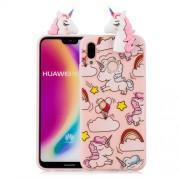 3D Animal Pattern Printing Soft TPU Phone Case for Huawei P20 Lite / Nova 3e - Pink Unicorn