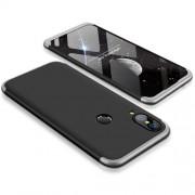 GKK 360 μοιρών Σκληρή Θήκη Ματ με Βελούδινη Υφή Πρόσοψης και Πλάτης για Huawei P20 Lite - Μαύρο/Ασημί