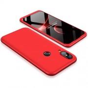 GKK 360 μοιρών Σκληρή Θήκη Ματ με Βελούδινη Υφή Πρόσοψης και Πλάτης για Huawei P20 Lite - Κόκκινο
