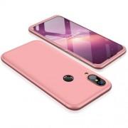 GKK 360 μοιρών Σκληρή Θήκη Ματ με Βελούδινη Υφή Πρόσοψης και Πλάτης για Huawei P20 Lite - Ροζέ Χρυσαφί