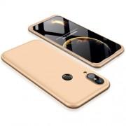 GKK 360 μοιρών Σκληρή Θήκη Ματ με Βελούδινη Υφή Πρόσοψης και Πλάτης για Huawei P20 Lite - Χρυσαφί