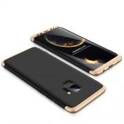 GKK 360 μοιρών Σκληρή Θήκη Ματ με Βελούδινη Υφή Πρόσοψης και Πλάτης για Samsung Galaxy S9 - Μαύρο/Χρυσαφί