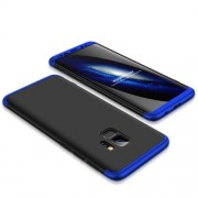 GKK 360 μοιρών Σκληρή Θήκη Ματ με Βελούδινη Υφή Πρόσοψης και Πλάτης για Samsung Galaxy S9 - Μαύρο/Μπλε