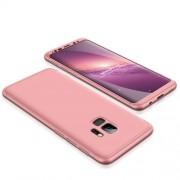 GKK 360 μοιρών Σκληρή Θήκη Ματ με Βελούδινη Υφή Πρόσοψης και Πλάτης για Samsung Galaxy S9 - Ροζέ Χρυσαφί