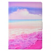 Pattern Printing Leather Card Holder Stand Tablet Accessory Casing for iPad 9.7-inch (2018) - Pink Sea