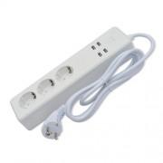 Smart Wifi Αντάπτορας με Καλώδιο με 4 Θύρες USB και τρεις Υποδοχές για Ρεύμα που Υποστηρίζει iOS και Androit
