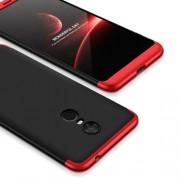 GKK 360 μοιρών Σκληρή Θήκη Ματ με Βελούδινη Υφή Πρόσοψης και Πλάτης για Xiaomi Redmi 5 Plus - Μαύρο/Κόκκινο