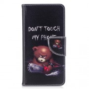 Pattern Printing Wallet Leather Stand Shell Cover for ZTE Blade A520 - Brown Bear