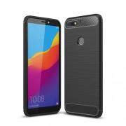 For Huawei Honor 7C/Enjoy 8 /Y7 Prime (2018) Carbon Fiber Texture Brushed TPU Back Case - Black