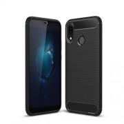 For Huawei P20 Lite / Nova 3e Carbon Fiber Texture Brushed TPU Back Case - Black