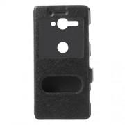 Δερμάτινη Θήκη Πορτοφόλι Smart Cover με Βάση Στήριξης (Όψη Μεταξιού) για Sony Xperia XZ2 Compact - Μαύρο
