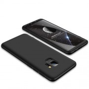 GKK 360 μοιρών Σκληρή Θήκη Ματ με Βελούδινη Υφή Πρόσοψης και Πλάτης για Samsung Galaxy S9 G960 - Μαύρο