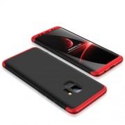 GKK 360 μοιρών Σκληρή Θήκη Ματ με Βελούδινη Υφή Πρόσοψης και Πλάτης για Samsung Galaxy S9 G960 - Μαύρο/Κόκκινο