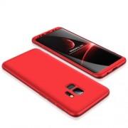 GKK 360 μοιρών Σκληρή Θήκη Ματ με Βελούδινη Υφή Πρόσοψης και Πλάτης για Samsung Galaxy S9 G960 - Κόκκινο