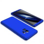 GKK 360 μοιρών Σκληρή Θήκη Ματ με Βελούδινη Υφή Πρόσοψης και Πλάτης για Samsung Galaxy S9 G960 - Μπλε