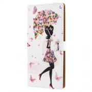 Δερμάτινη Θήκη Πορτοφόλι με Βάση Στήριξης για Nokia 7 plus - Κορίτσι με Πεταλούδες