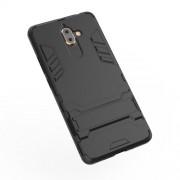 Υβριδική Θήκη Συνδυασμού Σιλικόνης TPU και Πλαστικού με Βάση Στήριξης για Nokia 7 plus - Μαύρο