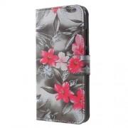 Δερμάτινη Θήκη Πορτοφόλι με Βάση Στήριξης για Xiaomi Mi A1 / 5X - Κόκκινα Λουλούδια