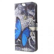 Δερμάτινη Θήκη Πορτοφόλι με Βάση Στήριξης για Xiaomi Mi A1 / 5X - Μπλε Πεταλούδα