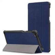 Leather Tri-fold Stand Shell for Lenovo Tab 7 Essential / Tab4 7 Essential (TB-7304F) - Dark Blue