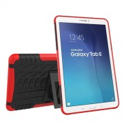 Υβριδική Θήκη Συνδυασμού Σιλικόνης TPU και Πλαστικού με Βάση Στήριξης για Samsung Galaxy Tab E 9.6 T560 - Κόκκινο