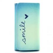 Universal Δερμάτινη Θήκη Πορτοφόλι για Κινητά με Μέγεθος 155 x 80 x 15mm - Smile με Καρδούλα