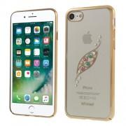 X-FITTED Σκληρή Θήκη με Φαντεζί Πέτρες και Μεταλλιζέ Bumper Σχέδιο Φύλλο για iPhone 8 / 7 - Χρυσαφί