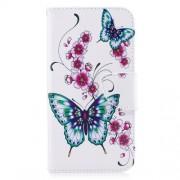 Δερμάτινη Θήκη Πορτοφόλι με Βάση Στήριξης για Motorola Moto G5S - Μπλε Πεταλούδες με Άνθη