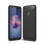 Carbon Fiber Texture Brushed TPU Mobile Case for Huawei P Smart / Enjoy 7S - Black