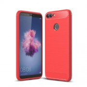 Carbon Fiber Texture Brushed TPU Mobile Shell for Huawei P Smart / Enjoy 7S - Red