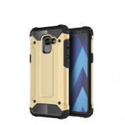 Armor Guard Plastic + TPU Hybrid Mobile Phone Cover for Samsung Galaxy A8 (2018) - Gold