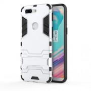Υβριδική Θήκη Συνδυασμού Σιλικόνης και Πλαστικού με Βάση Στήριξης για OnePlus 5T - Ασημί