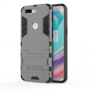 Cool Plastic TPU Hybrid Mobile Shell with Kickstand for OnePlus 5T - Grey