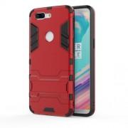 Υβριδική Θήκη Συνδυασμού Σιλικόνης και Πλαστικού με Βάση Στήριξης για OnePlus 5T - Κόκκινο