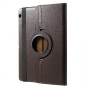 For Huawei MediaPad T3 10 Litchi Grain 360 Degree Rotary Stand Leather Flip Case - Brown
