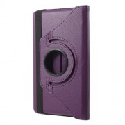 For Huawei MediaPad T3 7.0 Litchi Grain 360 Degree Rotary Stand Leather Protective Shell - Purple