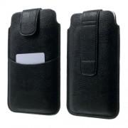 Universal Δερμάτινη Θήκη Πουγκί με Θέση για Κάρτες για Κινητά με Μέγεθος μέχρι 16.5 x 9.8cm - Μαύρο
