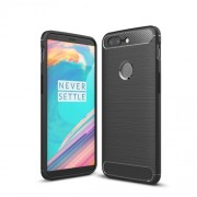 Carbon Fiber Texture Brushed TPU Protective Back Case for OnePlus 5T - Black
