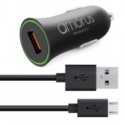 AMORUS Quick Charge 3,0 Car Charger + Micro USB Cable Charging Kit for Samsung Galaxy S7 / LG G4 Etc, - Black