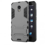 For Meizu M5c / A5 Cool Plastic TPU Kickstand Hybrid Casing Phone Accessory - Grey