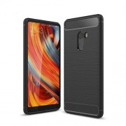 Carbon Fiber Texture Brushed TPU Mobile Phone Case for Xiaomi Mi Mix 2 - Black