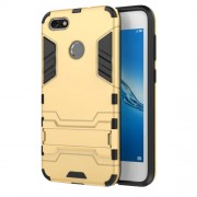Cool Plastic TPU Hybrid Mobile Cover Shell with Kickstand for Huawei P9 lite mini / Enjoy 7 / Y6 Pro (2017) - Gold