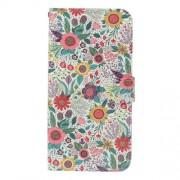 Δερμάτινη Θήκη Πορτοφόλι με Βάση Στήριξης για Sony Xperia L1 - Πολύχρωμα Λουλούδια