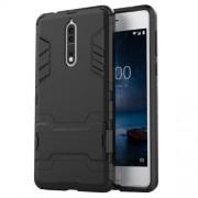 Υβριδική Θήκη Συνδυασμού Σιλικόνης TPU και Πλαστικού με Βάση Στήριξης για Nokia 8 - Μαύρο