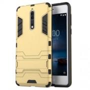 Υβριδική Θήκη Συνδυασμού Σιλικόνης TPU και Πλαστικού με Βάση Στήριξης για Nokia 8 - Χρυσαφί