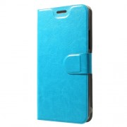 Crazy Horse Card Holder Leather Phone Case Accessory for Alcatel Idol 5s (Global Version) - Blue