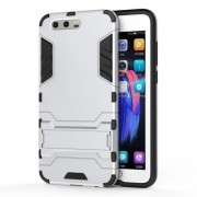 Cool Guard Plastic TPU Cell Phone Case with Kickstand for Huawei Honor 9 - Silver