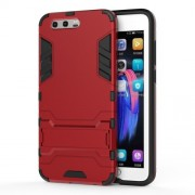 Cool Guard Plastic TPU Mobile Phone Cover with Kickstand for Huawei Honor 9 - Red