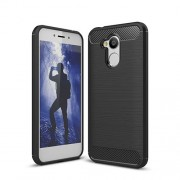 Carbon Fiber Texture Brushed TPU Back Case for Huawei Honor 6A - Black